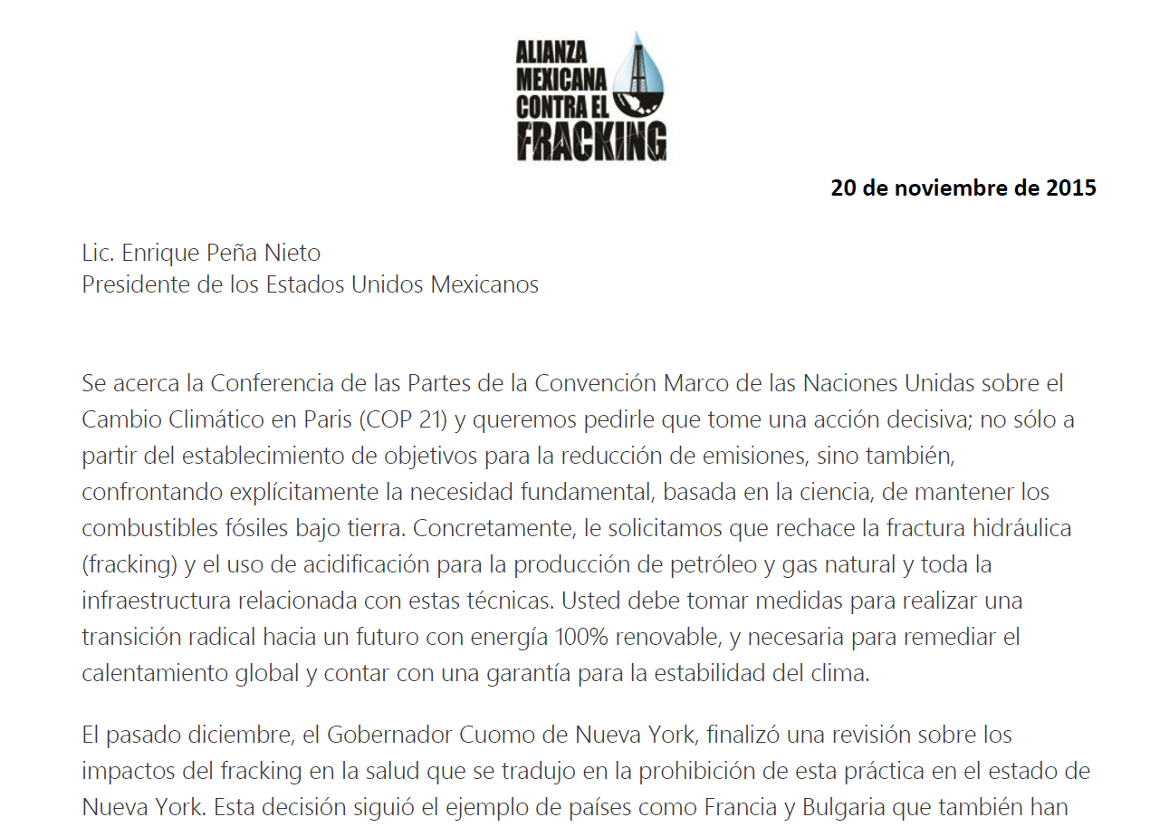 Carta global frackdown EPN