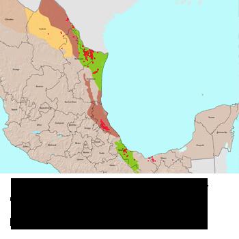 Sección Mapa del fracking en Mexico